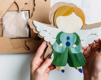 Mosaic wall art angel Mosaic kit DIY Angel boy DIY craft kit Angel baby shower diy Wedding favors DIY gift diy kits for adults Best gift diy