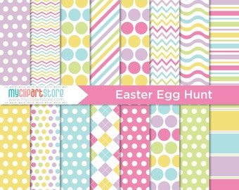 Digital Paper - Easter Egg Hunt, Scrapbook Paper, Digital Pattern, Commercial Use, JPEG, PDF