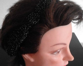 Black with bright silver ear warmer headband