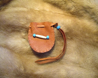 "A Drawstring Medicine, Spirit, Meditation Pouch, Bag of Rust Brown Deerskin Leather, 2.5""x2.5"""