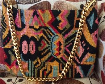 Vintage 1960s 1970s Handbag Purse Shoulder Bag Multi Color Tapestry Fabric MEYER Gold Tone Chain Handle