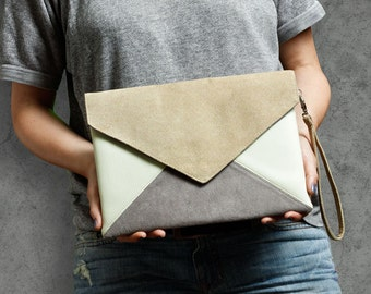 Clutch bag envelope beige gray ivory vegan leather bag faux leather suede purse handbag strap pocket zipped wedding bridesmaid evening gift