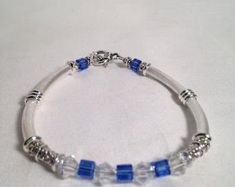 Sapphire birthstone bracelet, Swarovski crystal bracelet, September birthstone bracelet, blue bracelet, beaded bracelet