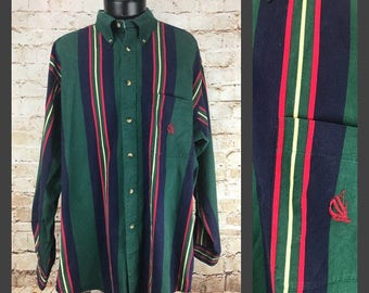 Men's Vintage Nautica Button Down Shirt - Colorblock Striped Primary Colored Collared Button Up Long Sleeve Extra Large - XL