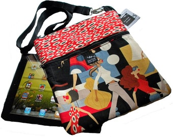 Models Girls Funky Retro Black Red Dots Fabric iPad Kindle Nook  E Reader Passport Travel Messenger Bag Sling Washable