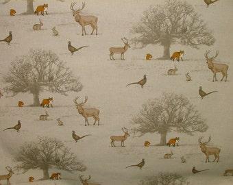 "Fryetts ""Tatton Autumn"" Woodland Fox Stag Deer Scene Cotton Curtain Fabric"