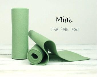 """Wool Felt Roll  in color MINT - 100% Wool Felt - 5"""" x 36"""" Wool Felt Roll - Green Felt"""