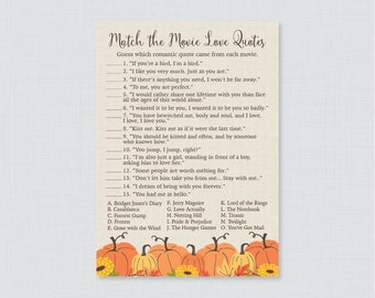 Pumpkin Movie Love Quote Match Game - Printable Rustic Fall Bridal Shower Movie Quote Game - Autumn Pumpkin Bridal Shower Game - 0019