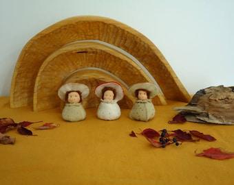 Waldorf inspired toadstool Nature table autumn season table Antroposofisch felt mushroom doll