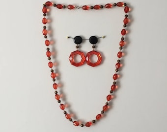 Vintage 1960's - 1970's Mod Necklace & Earrings Set / Orange and Black Go-Go Jewelry / Bond Girl Swinging London