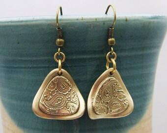 Bronze Dangle Earrings, Gold Dangle Earrings, Paisley Dangle Earrings, Handmade Dangle Earrings, Triangle Dangle Earrings, boho earrings