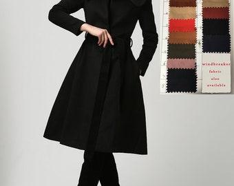 Knee length coat, wool coat, black coat, winter coat, classic coat, warm coat, tailored coat, womens outwear, casual coat, gift (1103)