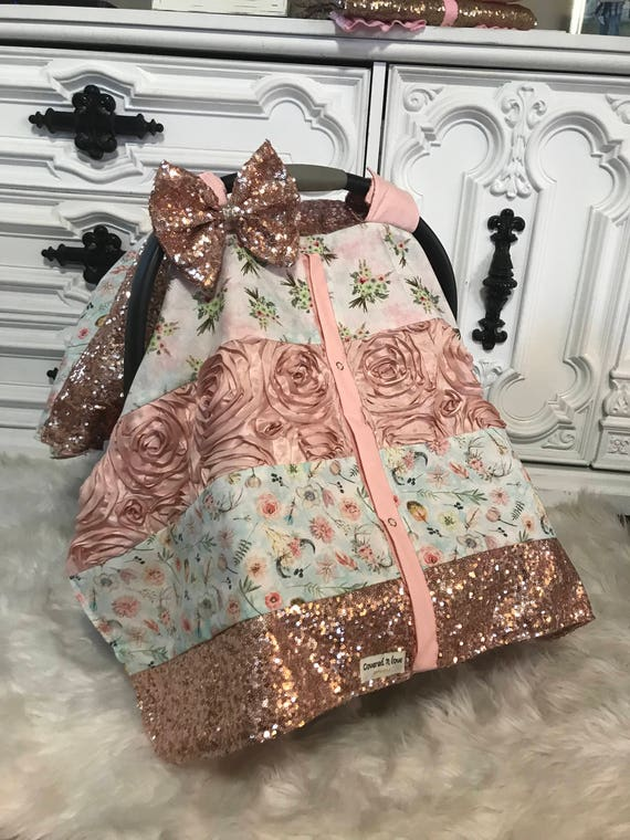 car seat canopy / nursing cover / carseat cover / carseat canopy / ooak / sequin / infant car seat cover / gold / sparkle