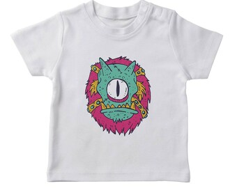 Scary Cyclops Cartoon Boy's White Halloween T-shirt