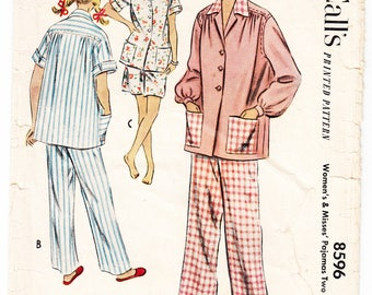 Vintage 1951 McCall's 8596 Sewing Pattern Misses' Pajamas in Two Lengths Size 18 Bust 36