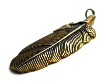 Feather pendant Bronze pendant Feather Summertime Pendant Feather jewelry Feather necklace Metal pendant Gift for girlfriend Bronze amulet