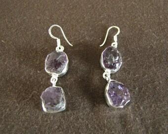 Sterling Silver Rough Amethyst Gemstone Earrings