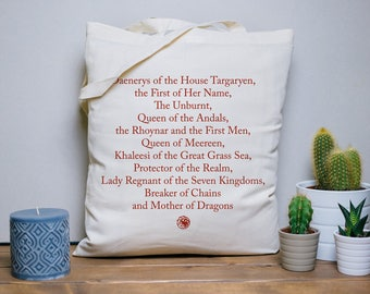 Tote Bag Daenerys names - cotton bag, beach bag, yoga bag, series quote, typography, game of thrones, khaleesi, mother of dragons