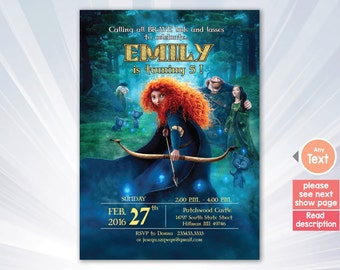 BRAVE Birthday Invitation, Brave Invitation, Merida Invitation, Brave Merida Invitation, Princess Merida Brave Movie Party.