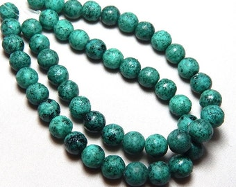 8mm Turquoise Picasso Czech Beads, Rustic Round Beads, Turquoise Beads, 8mm Beads, 8mm Glass Beads, 8mm Czech Beads T-1A