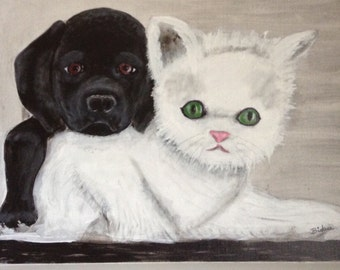 Kitten and Puppy Art/Painting