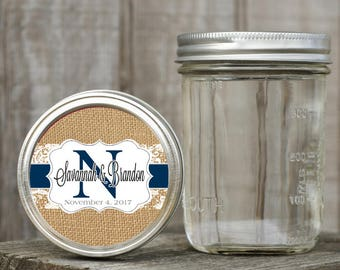 Mason Jar Lid Labels - Glossy Round Sticker Label Tags - Wedding Favors - Choice of Color - Ribbon & Lace Monogram - Burlap and navy