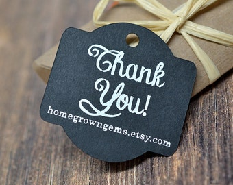 Chalkboard Style Thank You Hang Tags - Gift Tags - Packaging - White on Black Glitter Gold Silver - Wedding | DS0091