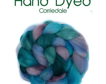 Hand dyed roving - Corriedale - 100g/3.5oz - turquoise - mauve - teal