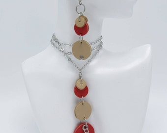 Red/Tan Leather Dot Necklace & Earrings Set with stainless steel accents