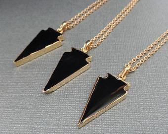 Black Onyx Arrowhead Necklace / Natural Onyx Arrowhead / Black Onyx Gold-edge /Black Gold Necklace/ Black Stone Necklace Arrowhead //GR18