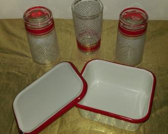 Red / White - Vintage Drinking Glasses + Enamelware Box
