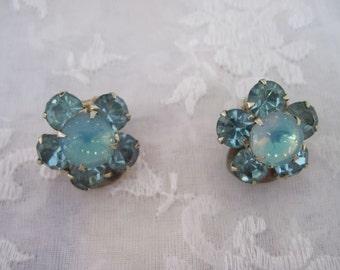 Weiss signed light luminous blue flower earrings