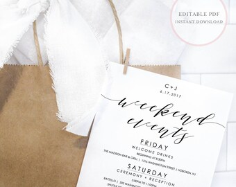 Wedding Weekend Itinerary. Wedding Weekend Itinerary Template. Wedding Weekend Timeline Template. Wedding Weekend Timeline. Itinerary. (SH)