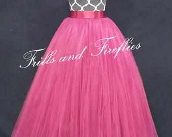Burgundy Tulle Skirt/Lined Maxi Skirt/Flower Girl Skirt/Skirts for Women/Wedding Skirt/Ball Gown/Bridal Skirt/Skirt/Dance/Ballet Tutu/Gifts