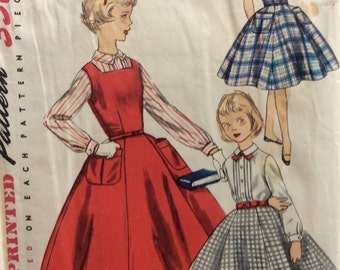 Simplicity 1330 girls jumper, blouse and skirt size 8 vintage 1950's sewing pattern