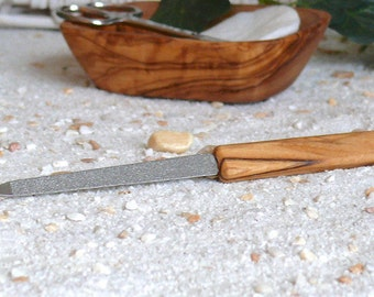 Nail file with handle of olive wood
