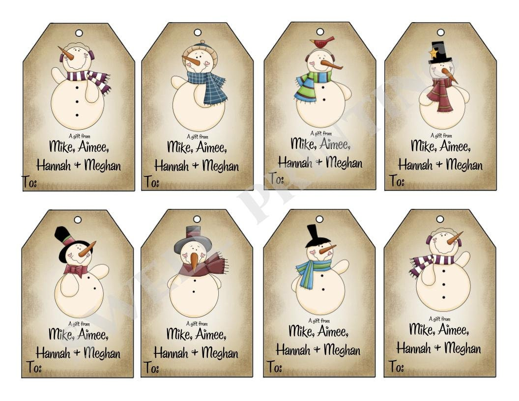 Printable mr snowman gift tags holiday gift tag zoom negle Images