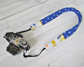 Cobalt Blue Camera Strap. Wildflower DSLR Strap. Floral Camera Strap. Royal Blue DSLR Strap. Gift for Photographer. Gift for Her.