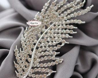Rhinestone Brooch Pin Supply Embellishment Feather Hair Comb Tiara Shoe Clip Wedding Bouquet Brooch Cake Decoration RD314