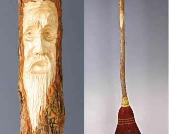 Tree Spirit Carved Kitchen Broom in your choice of Natural, Black, Rust or Mixed Broomcorn - Hand Carved Shaker Broom For Sweeping