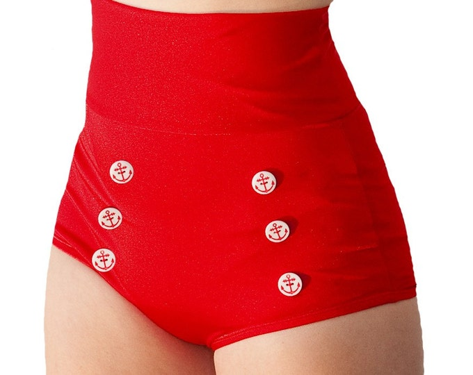 Skipper Super High Waisted Red Sailor Bikini Bottom XS ONLY