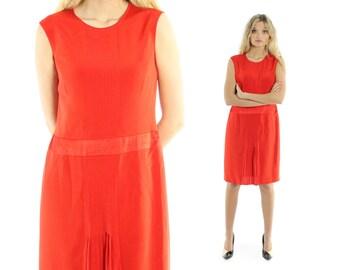 Vintage 80s Carolina Herrera Dress Orange Red Sleeveless Drop Waist 1980s Small S Silk Pleated Skirt Flapper