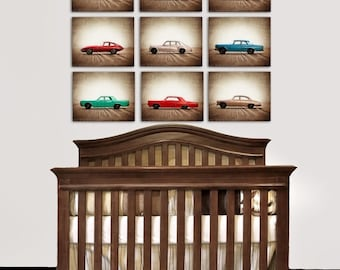 FLASH SALE til MIDNIGHT On Sale Vintage Matchbox Cars, Set of Nine Photo prints, Nursery Decor, Rustic Decor Toy Cars, Baby room ideas, Boys
