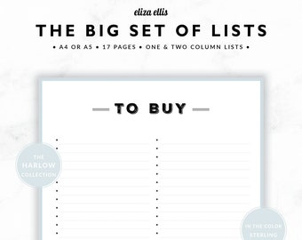 PLANNER PRINTABLE / Wishlist / Planner Accessories / 2018 Planner / To Do Lists / Home Organizer / The Harlow Planners in Sterling / 425