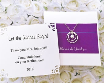 GIFT for TEACHER RETIREMENT Jewelry Sterling Silver Retirement Gift for Her Pearl Jewelry On To the Next Chapter Gift Wrapped Ready to Ship