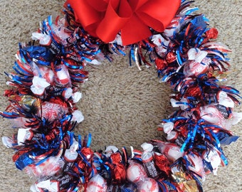 Red White Blue Candy Arrangement Wreaths Edible Gift Chocolate Tootsies Peppermint Centerpiece Birthday Hard to Buy For
