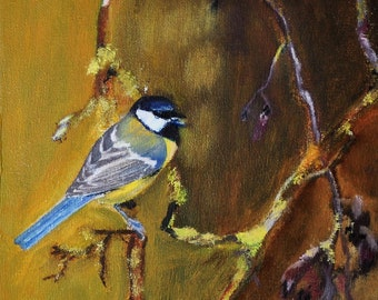 "Original painting ""Blue Tit"" in acrylic on canvas 20 x 20 cm / 7.9 x 7.9 in"