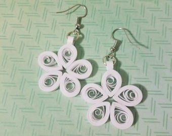 White Quilled Flower Earrings