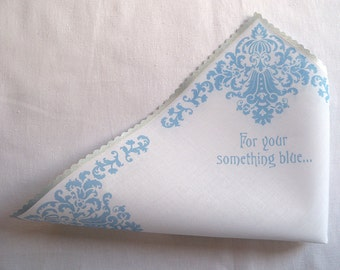 Something blue wedding handkerchief, bridal hankie, For your something blue, silver and blue damask, gift boxed