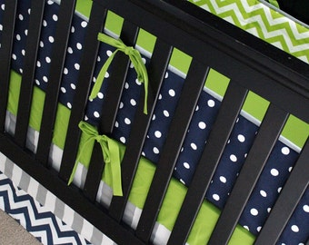Boy Crib Bedding Set, Baby Nursery Crib Set, Navy Blue Polka Dot Bumper Pad, Lime Green Crib Sheet, Gray Stripe and Chevron Skirt